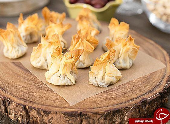 طرز تهیه بورک بقچه ای قارچ و پنیر با یوفکا