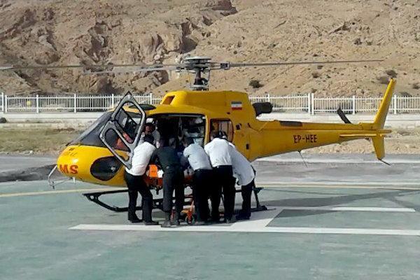 بالگرد اورژانس گلستان برای انتقال فرد گلوله خورده اعزام شد
